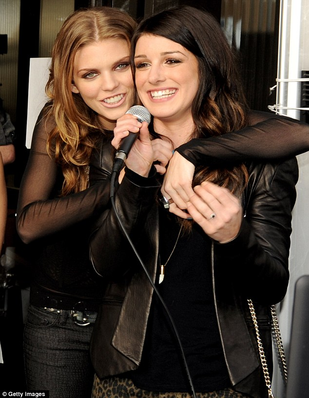 Emotional: AnnaLynne McCord with co-star Shenae Grimes at the 90210 wrap party at The W Hotel in Westwood, California, on Sunday. The actress has revealed they found out about the cancellation on Twitter